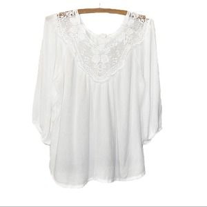 Forever 21 White Floral Lace Top